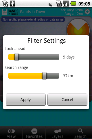 Select filter preferences (how loong in the future, at what distance)