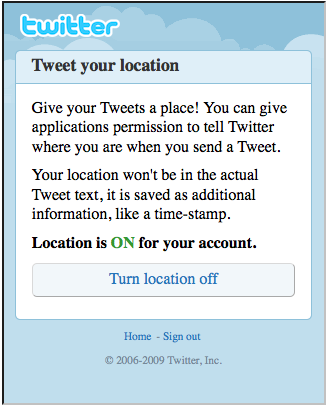 Twitter: mobile geo activation screen