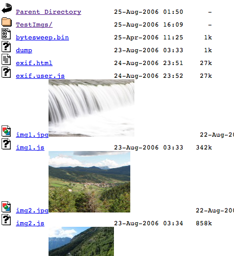 Exif directory listing